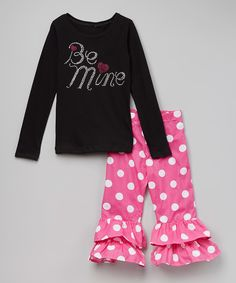 Beary Basics Black 'Be Mine' Tee & Ruffle Pants - Toddler & Girls by Beary Basics #zulily #zulilyfinds