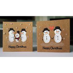 Cartes de Noël à la main de bonhomme de neige lot par alexoliver