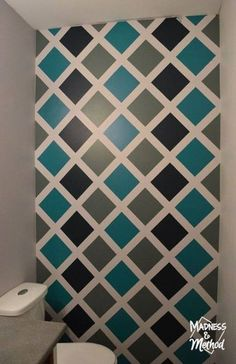 By using the width of painters tape as our guides, it was actually super quick to tape up the diamond accent wall and get the pattern we wanted. Just remember to paint in the same direction each time to avoid extra seepage. Room Wall Painting, Tape Painting, Painting Tips, Painting Techniques, Bathroom Paintings, Bathroom Art, Painting Accent Walls, Pattern Painting, Painting Doors