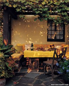 Cozy patio dining. This would be great on a summer evening.