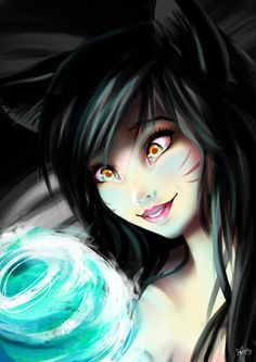 I love League of Legends, it is probably one of my favorite game EVER. *_* Ahri is just beautiful ! I had to do a fan-art ! <3