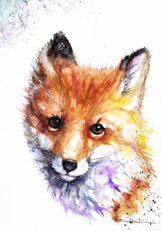 Original Watercolour Fox Print by Artist Be Coventry Wildlife Animal Art £9.99