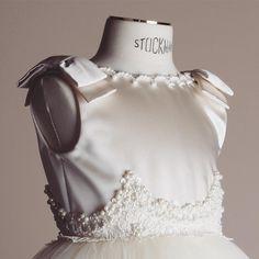 Close up of #Bibiona embroidered satin duchesse #dress