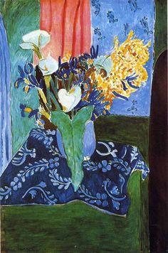 Анри #Матисс. Арумы, ирисы и мимоза (Голубая ваза с цветами на синей скатерти), 1913. Другие работы Матисса: http://bit.ly/1BhySxt