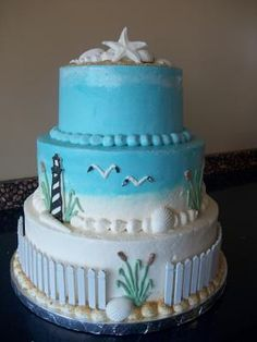 Beach cake with lighthouse and fencing
