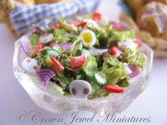 #dollhouse miniatures -  Fresh Tossed Garden Salad