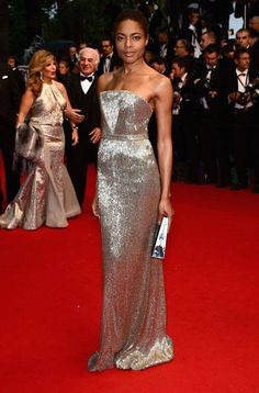 Naomie Harris opted for metallic glamour in a beaded Calvin Klein Collection gown at Cannes Film Festival 2013.
