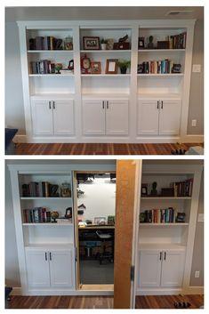 Hidden Bookshelf Door, Diy Bookshelf Wall, Bookcase Door, Hidden Rooms In Houses, Home Renovation, Home Remodeling, Dream Home Design, House Design, Bedroom Layouts