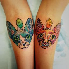 Two Sphynx Cats Matching Tattoos on Arms