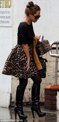 MORE animal-print: On Monday she wore a leopard-print skirt and matching handbag