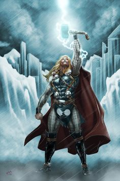 The Mighty Thor! Summoning a rainstorm to melt frozen Asgard. Why would it rain in a frozen wasteland? Because THOR SAID SO! Thor lines by the great. If He be Worthy Marvel Dc Comics, Dc Comics Art, Marvel Heroes, Marvel Avengers, Chris Hemsworth Thor, Marvel Characters, Comic Book Characters, Rune Viking, Les Runes