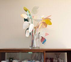 Vase of papier mache house plants.  9.14.   www.rachelibarra.com