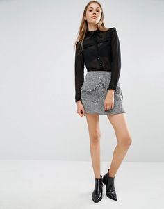 Lost Ink Tweed Mini Skirt With Front Pockets from ASOS