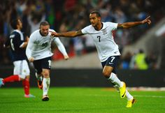 ~ Theo Walcott on the England National Team celebrating his goal against the Scotland National Team ~ Theo Walcott, England National Team, England Football, Football Team, Premier League, Scotland, Soccer, Goals, Club