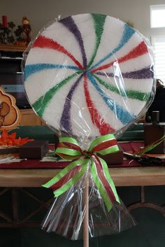 diy lollipop large decor great for christmas or candy theme partyits super easy then i alternated these with giant candy canes to line the driveway - Giant Candy Decorations Christmas