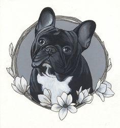 French Bulldog Tattoo Design By Jeroen Teunen. French Bulldog Drawing, French Bulldog Tattoo, Cãezinhos Bulldog, Bulldog Puppies, Bulldogge Tattoo, Watercolor Cat Tattoo, Dog Memorial Tattoos, Cute Cat Tattoo, Dog Tattoos