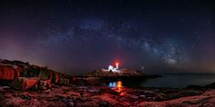 Taylor Photography - In this 7 image horizontal panorama the late Winter Milky Way and Venus make for a dramatic background at Cape Neddick Lighthouse in York, Maine