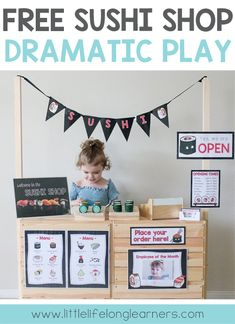Free Sushi Shop Dramatic Play printables | Signs, labels and posters for setting up your own Sushi Imaginative Play | Role-play, vocabulary, creative thinking, problem solving, social skills | Australian Teachers, Parents, Toddlers, preschool and kindergarten play ideas |