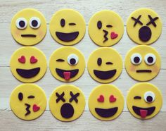 Emoji Fondant cupcake toppers, emoji cupcakes by AmoreConfections on Etsy