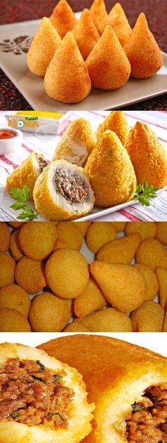 Coxinha de Batata com Recheio de Carne Moída - Snacks - Chef Recipes, Wine Recipes, Cooking Recipes, Potates Recipes, Good Food, Yummy Food, Best Chef, Portuguese Recipes, Yummy Cookies