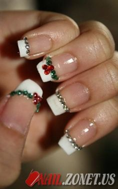 Holiday Nails ~ I have this design on my nails right now and it is simple and easy to apply if you have nail pens or gems. This french tip with the christmas design is $35 which includes the full manicure.