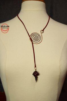 Collana lunga rame e pietre dure,gioielli fatti a mano,wire wrapped,regalo collega,regali personalizzati,collana donna,regalo anniversario di SolelunaCreativity su Etsy