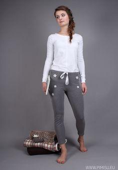 6da091443cd91d pimisu, piżama, ciepła piżama, gwiazdy, czarny, biały, legginsy, z  zapiętkiem ✒ pyjama, pajama, warm pyjama, stars, black, white, grey,  leggings, ...