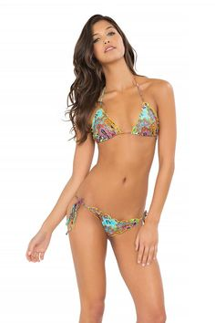 c99f70bd5153e Tornasol - Wavey Triangle Top   Wavey Ruched Back Brazilian Tie Side Bottom  Luli Fama Thong