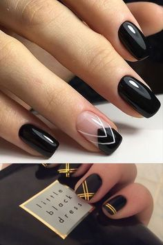 Designs black decorated nails for Decoratefacil - - Aycrlic Nails, Blue Nails, Hair And Nails, Dipped Nails, Pretty Nail Art, Manicure E Pedicure, Gel Nail Designs, Powder Nails, Accent Nails