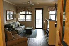 Living room in a 2 bedroom villa at Disney's Hilton Head Island Resort.