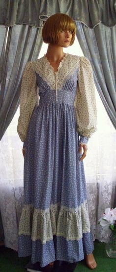 Gunne Sax Dress Vintage Prairie Style Tie Corset & Calico