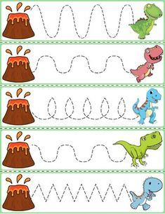 Trace The Pattern: Dinosaurs Running From Volcanoes Cards. Help your child develop their pre-writing and fine motor skills with Homeschool Kindergarten, Preschool Classroom, Preschool Worksheets, Preschool Learning, Preschool Crafts, Daycare Curriculum, Dinosaur Theme Preschool, Dinosaur Activities, Toddler Activities