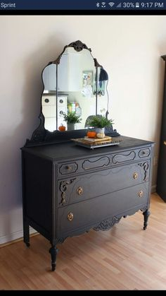 Black Antique Dresser With Mirror. Antique Dresser With Mirror Marble Top Dresser . June Bear: Pewter And White Chest Of Drawers Painted . Redo Furniture, Decor, Furniture Diy, Refurbished Bedroom, Painted Furniture, Dresser With Mirror, Furniture, Furniture Inspiration, Recycled Furniture