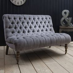grey fabric two seater sofa, laura lyra, majeurs chesterfield