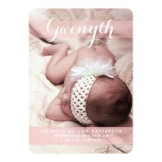 Sweetest Dream Two Photo Modern Birth Announcement Invitation Card