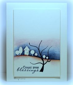 artistic card ...  blue and plum sky ... die cut horizon house and trees ... lovely!!!
