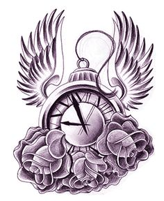 Urban Ink Tattoo Designs | Clock Wings Tattoo Design by jerrrroen
