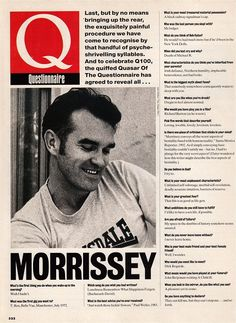 Morrissey fills out The Q questionnaire, January 1995.