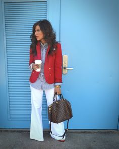 Cute! Love this blazer! The white pants and button down shirt gives it a polished look.