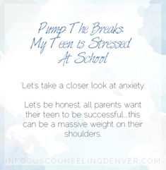 Teens experience so much stress at school. In Focus Counseling Denver takes a closer look.Pump The Breaks: My Teen is Stressed At School New School Year, First Day Of School, Ocd Therapy, Teen Stress, Teen Issues, School Stress, New Environment, Very Excited, Problem Solving