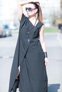 Black Womens Kaftan, Abaya Dress, Black Maxi Dress, Loose Maxi Dress, Long Black Dress, Elegant Black Kaftan by EUGfashion by EUGfashion on Etsy