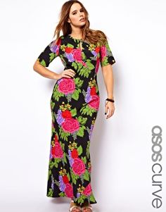 ASOS CURVE Maxi Dress With Tie Back In Floral Print