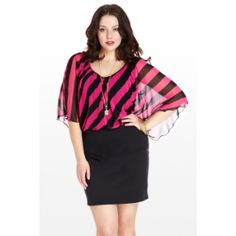 Fashion to Figure (1X - 3X) From Here to Sheer Chiffon Flutter Dress