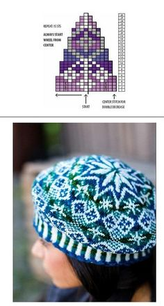 "Photo from album ""Nordic Knitting Traditions Knit on Yandex. Fair Isle Knitting Patterns, Fair Isle Pattern, Knitting Charts, Loom Knitting, Knit Stranded, Knit Crochet, Crochet Hats, Cable Knit Hat, Diy Hat"