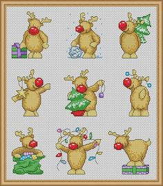 Number One Best Seller !!! Rudolph Christmas Card Designs, PDF Cross Stitch Patterns - Instant Download