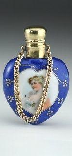1880's perfume bottle, heart shaped.