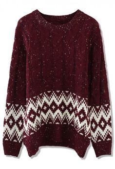 Cable Knit Zig Zag Sweater in Wine Red