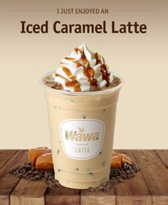 Wawa Hot Iced Beverages Caramel Latte