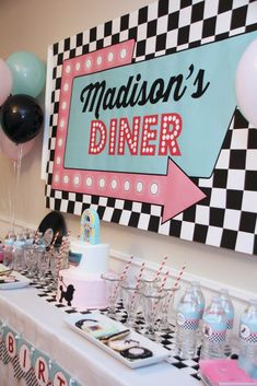 Diner Birthday Party - Creations (Melissa M. Retro Birthday Parties, 50s Theme Parties, 50th Birthday Party Decorations, Adult Party Themes, 50th Party, 1950s Theme Party, 40th Birthday, Birthday Sayings, Birthday Gifts