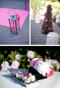 pink runner and lanterns, small trees with flowers and butterflies, flower decorations and plaids in fuchsia, white and black for the evening chill at the reception location